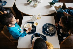 Children sharing a meal.