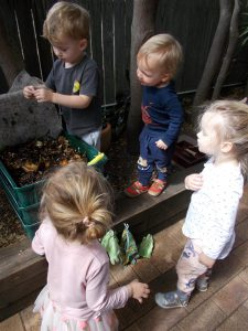 Children looking at a worm farm.