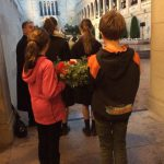 Children laying wreath at War Memorial.