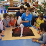 Demonstration volcano experiment in Montessori class.