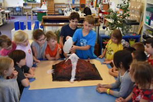Demonstration volcano experiment in Montessori class.