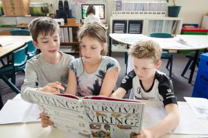 Children researching Viking history.