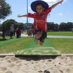 Child long jumping.